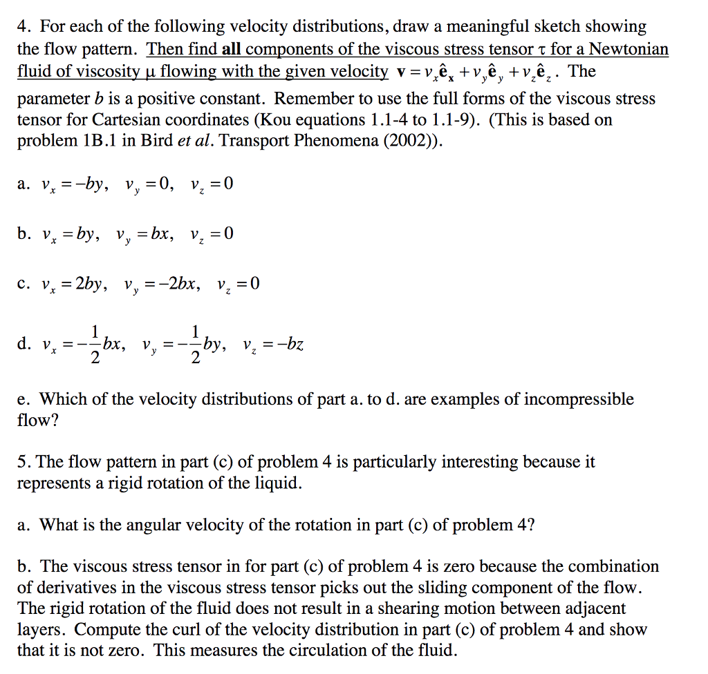 For each of the following velocity distributions draw a meaningful sketch showing the