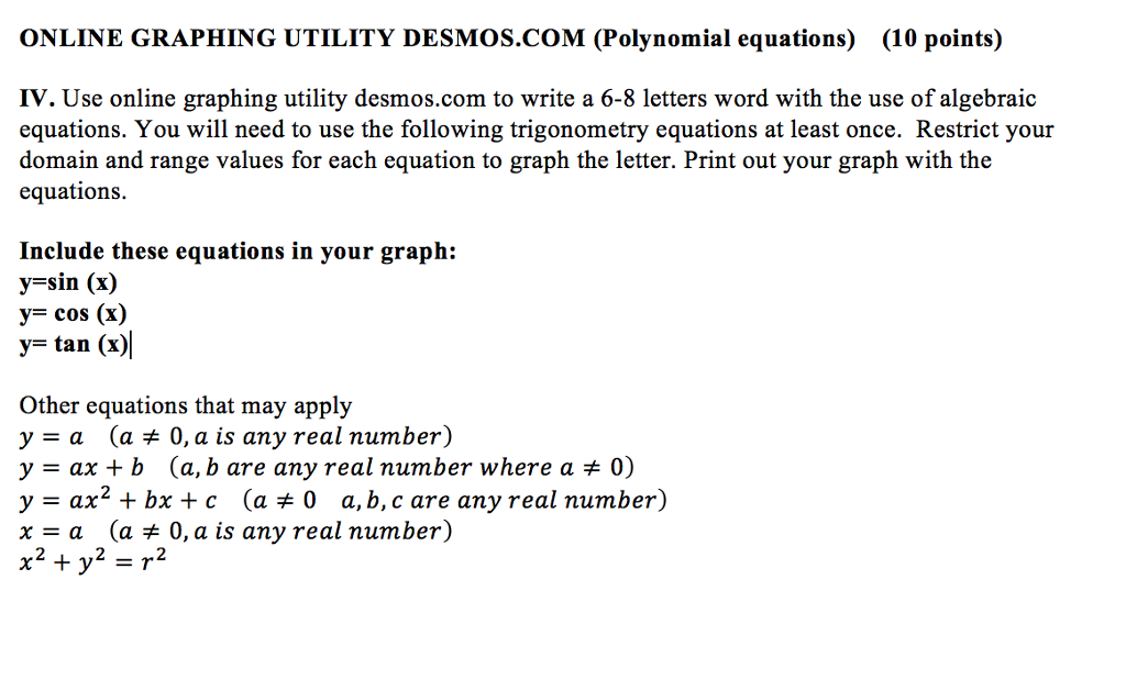 Solved Use Online Graphing Utility Desmos To Write A