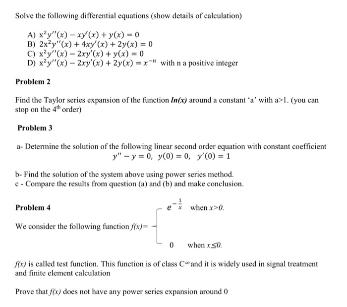 Solved: Solve The Following Differential Equations (show D