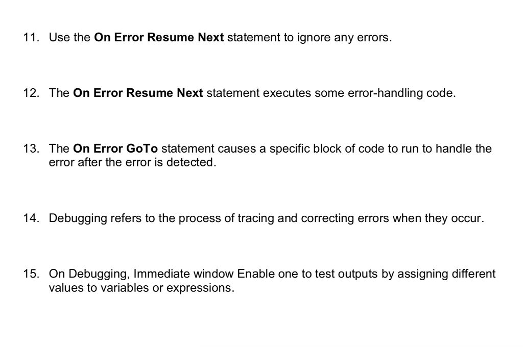 Solved 11 Use The On Error Resume Next Statement To Igno
