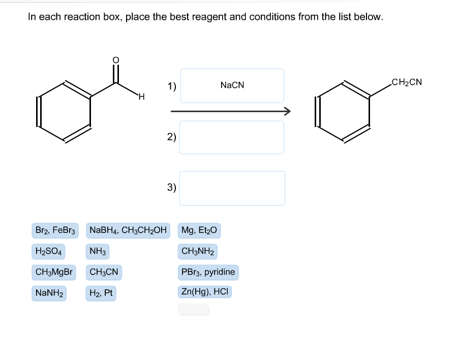 in each reaction box place the best reagent and conditions from the list below oh-#24