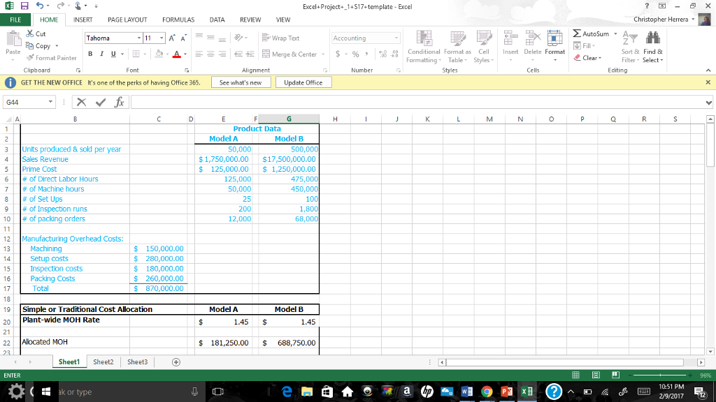 Solved Excel Project S17 Template Excel Home Nsert Page L