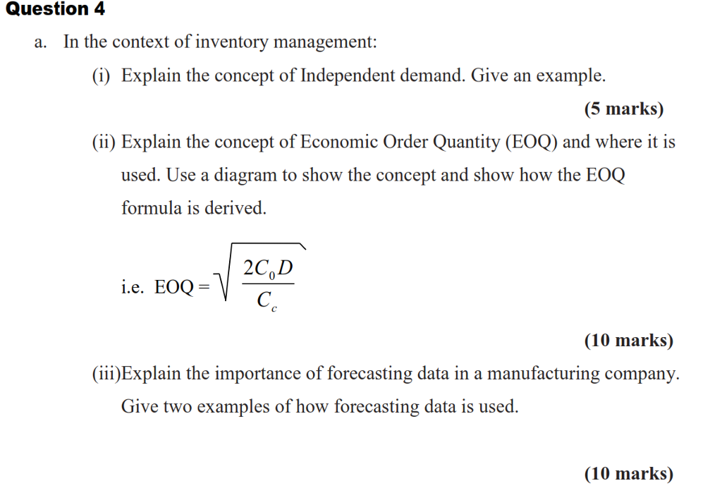 Solved: A  In The Context Of Inventory Management: (i) Exp