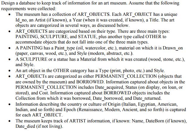 Art Museum Database Design