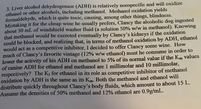 Solved Liver Alcohol Dehydrogenase Adh Is Relatively No