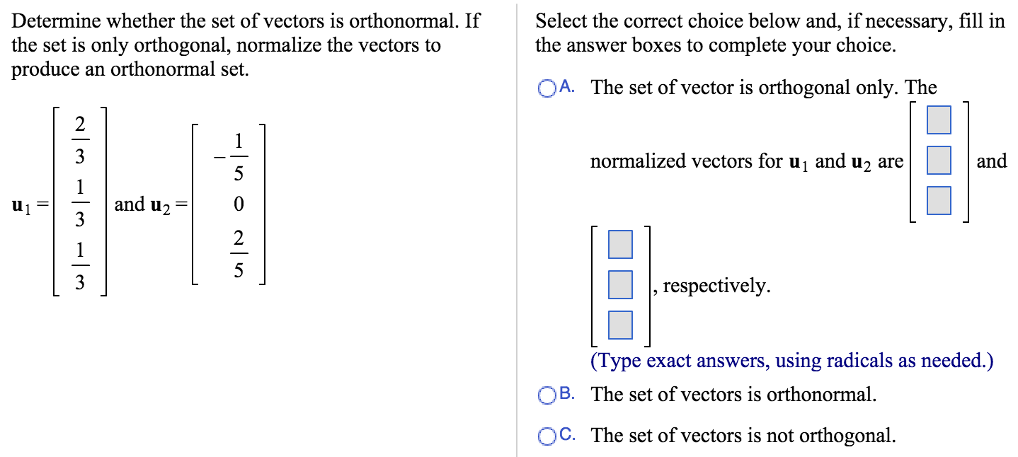 solved determine whether the set of vectors is orthonorma rh chegg com vectors for dummies vectors for malaria