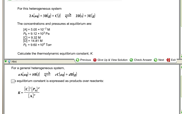 Solved: For This Heterogeneous System 2A(aq) + 3B(g) + C(l