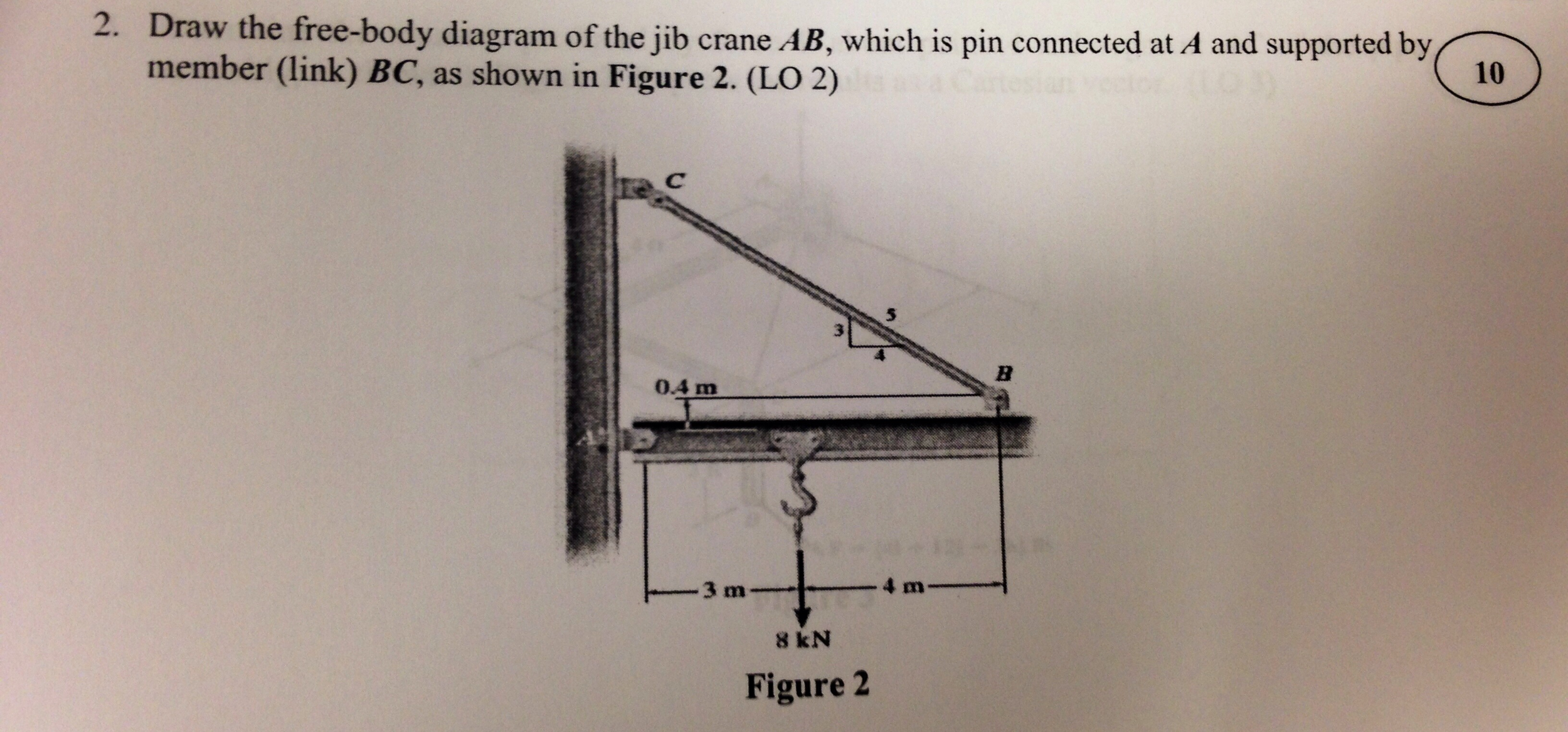 Solved draw diagram of the jib crane ab which is pin con question draw diagram of the jib crane ab which is pin connected at a and supported by member link bc ccuart Choice Image