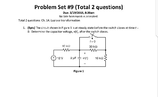 Problem Set #9 (Total 2 questions) Due: 3/19/2018, 8:30am No late hemewnrk is accented. Total 2 questions: Ch. 14. Laplace transformation 1. (5pts] The circuit shown in Figure 1 is at steady state before the switch closes at timet- 0. Determine the capacitor voltage, vtti, after the switch dloses. 10 k52 30 kΩ Figure 1