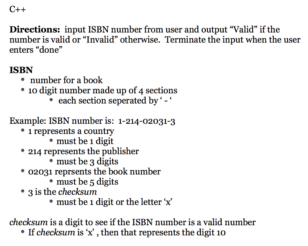 Solved: C++ Directions: Input ISBN Number From User And Ou