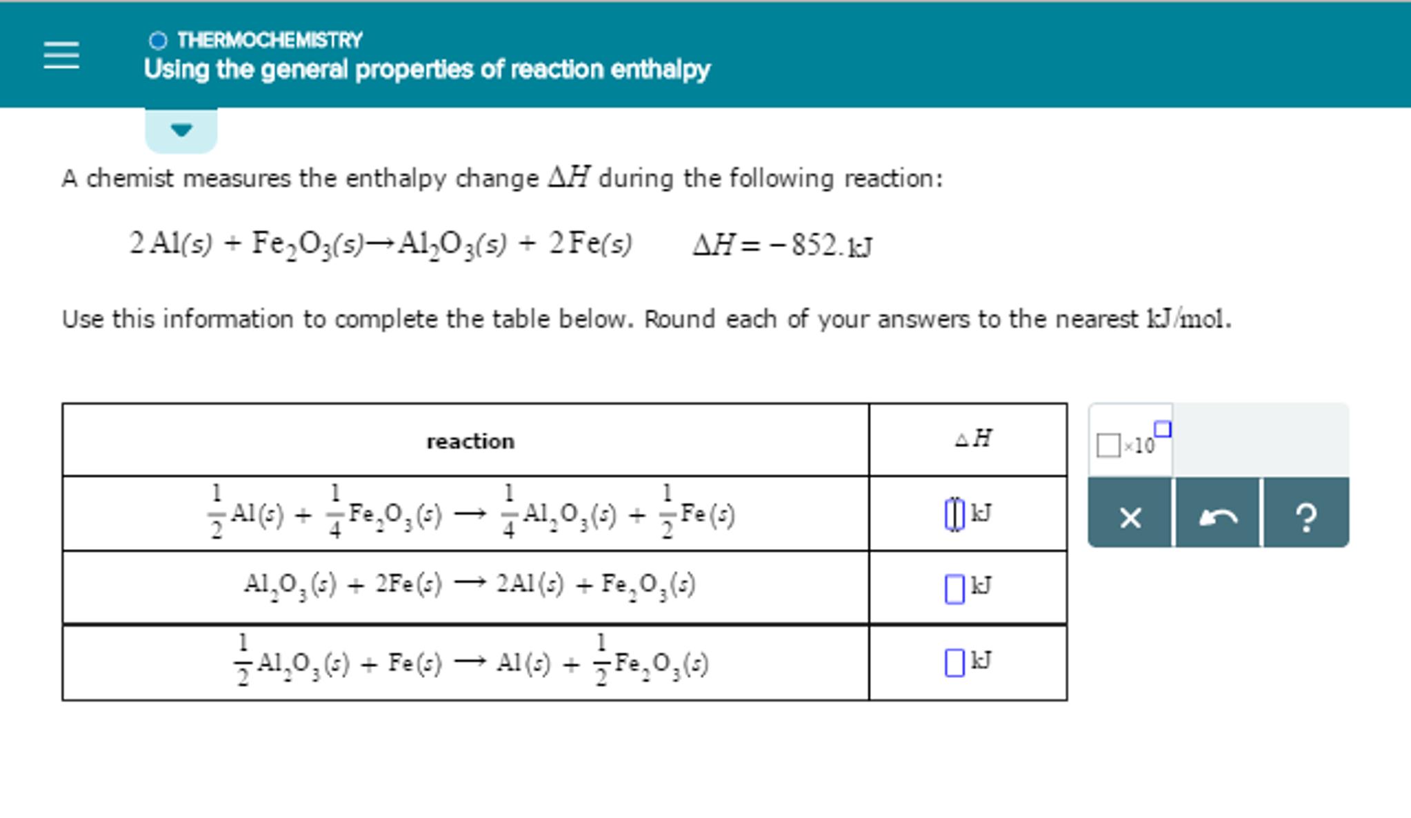 Solved: A Chemist Measures The Enthalpy Change Delta H Dur ...