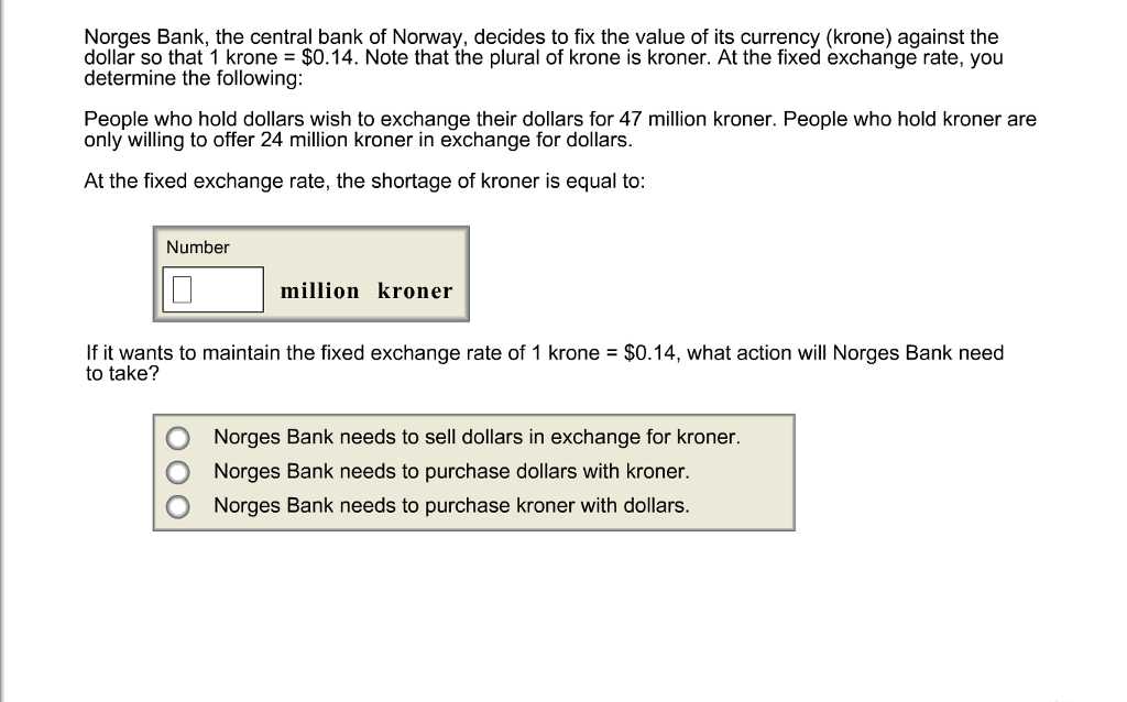 Solved Norges Bank The Central Bank Of Norway Decides T