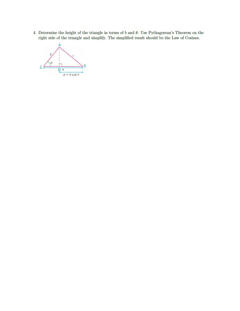 Solved Determine The Height Of The Triangle In Terms Of B
