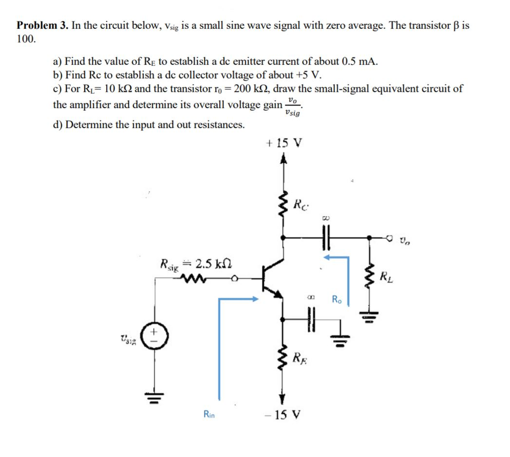 Solved Problem 3 In The Circuit Below Vsig Is A Small S Find Equivalent Resistance Re Of Cheggcom Sine Wave Signal With