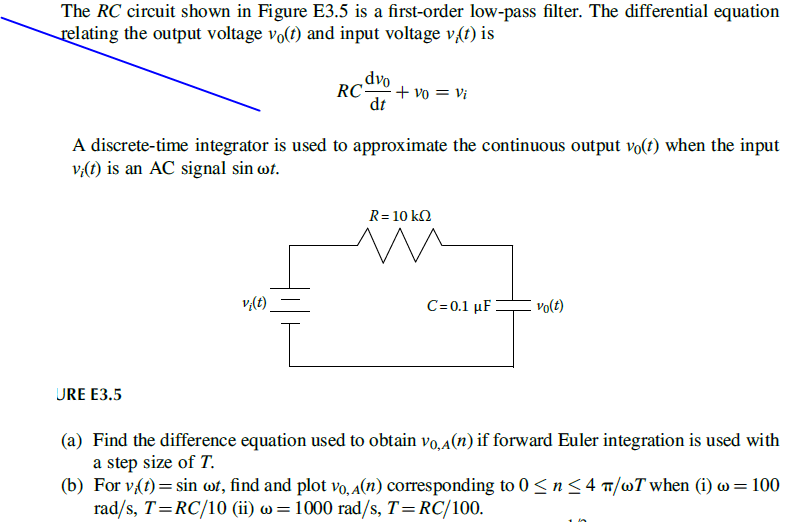 The RC Circuit Shown In Figure E3 5 Is A First -or