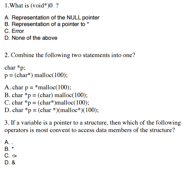 Solved: 1 What Is (void*)0 A  Representation Of The NULL P