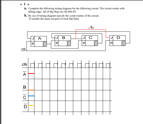e626b6f45 1 Complete the following timing diagram for the following circuit. The circuit  works wi. «