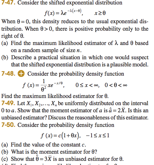 Consider The Shifted Exponential Distribution F(x