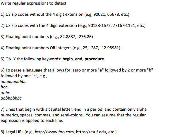 Solved: Write Regular Expressions To Detect 1) US Zip Code