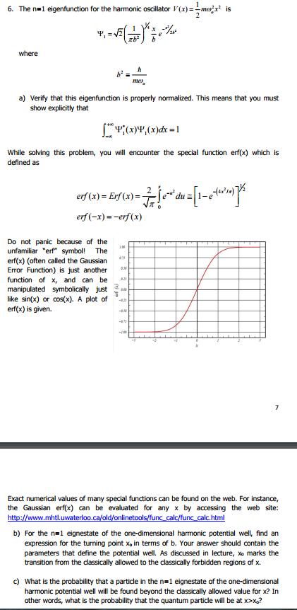 Solved The N 1 Eigenfunction For The Harmonic Oscillato