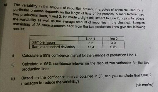 Solved: The Variability In The Amount Of Impurities Presen