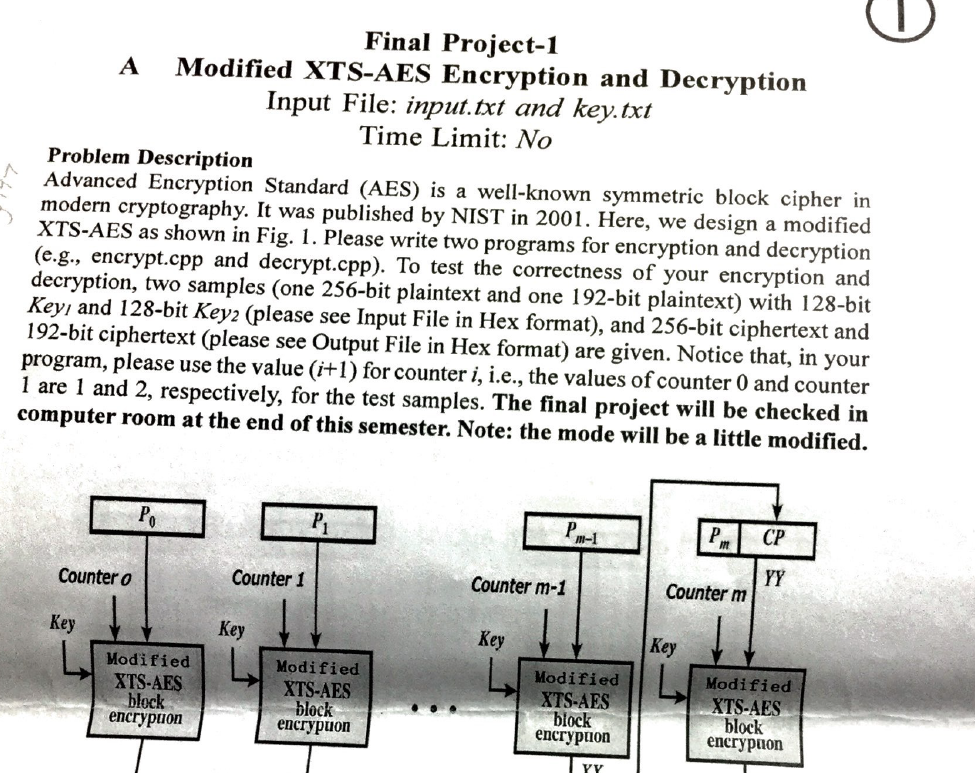 Solved: Final Project-1 A Modified XTS-AES Encryption And