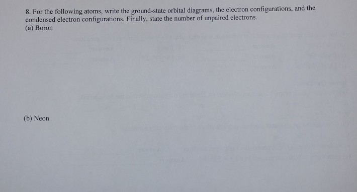 Solved 8 For The Following Atoms Write The Ground State