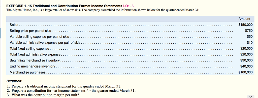 exercise 1 15 traditional and contribution format income statements lo1 6 the alpine house