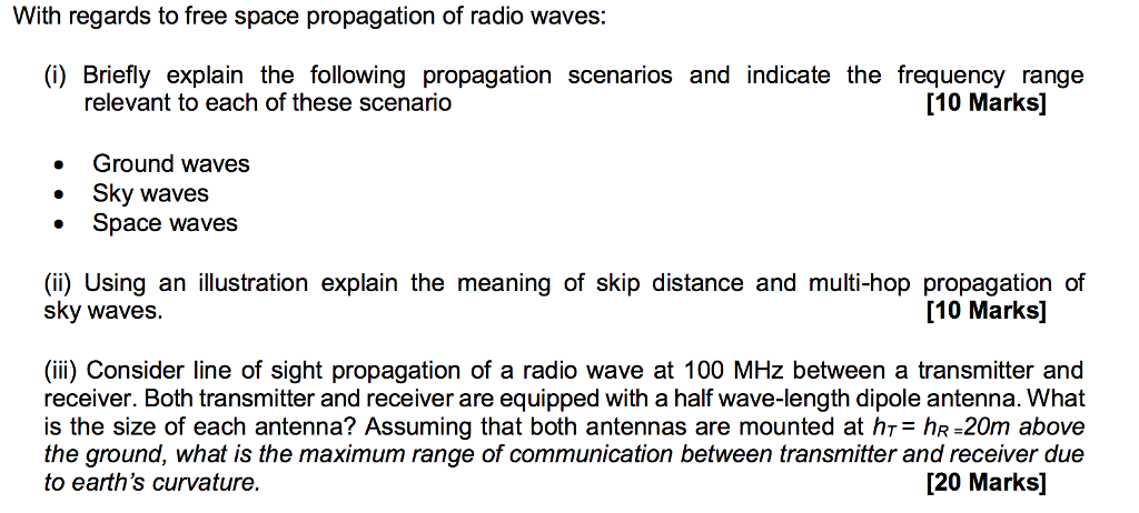 Solved With Regards To Free Space Propagation Of Radio Wa Chegg Com