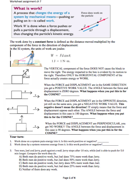Solved: Worksheet Assignment Ch 7 What Is Work A Process T ...