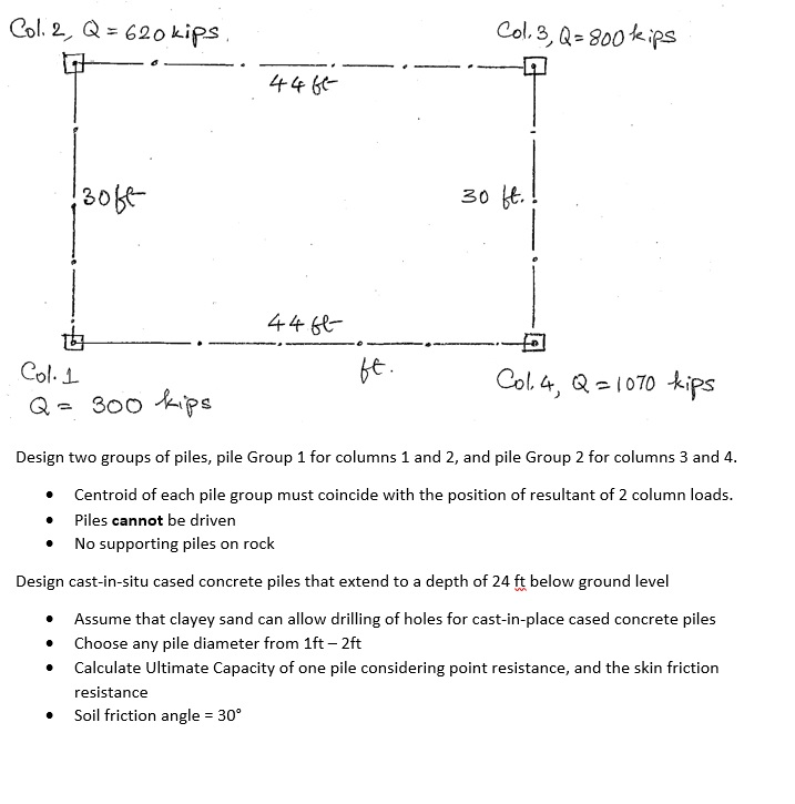 Design Two Groups Of Piles, Pile Group 1 For Colum      Chegg com