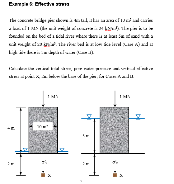 Solved: example 7: effective stress the soil profile at a.
