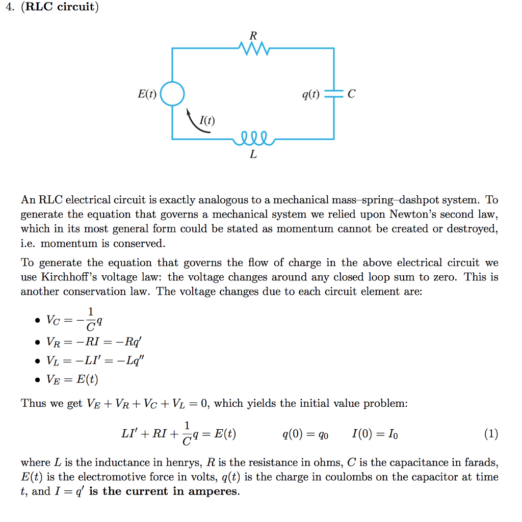 Solved 4 Rlc Circuit Et It An Electrical Circu Troubleshooting Basic