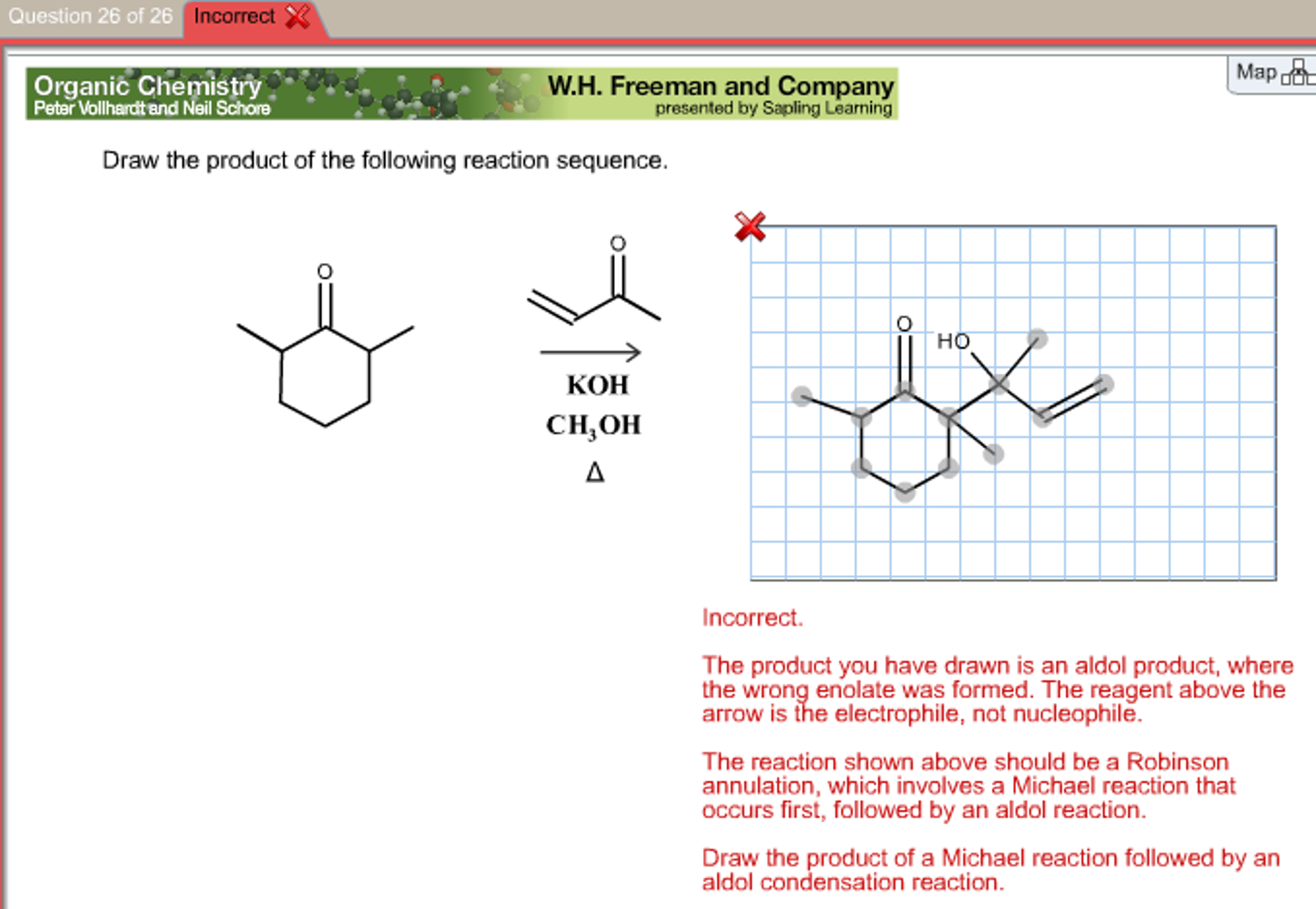 Question 26 of 26 26 Incorrect Map Organic Chemist