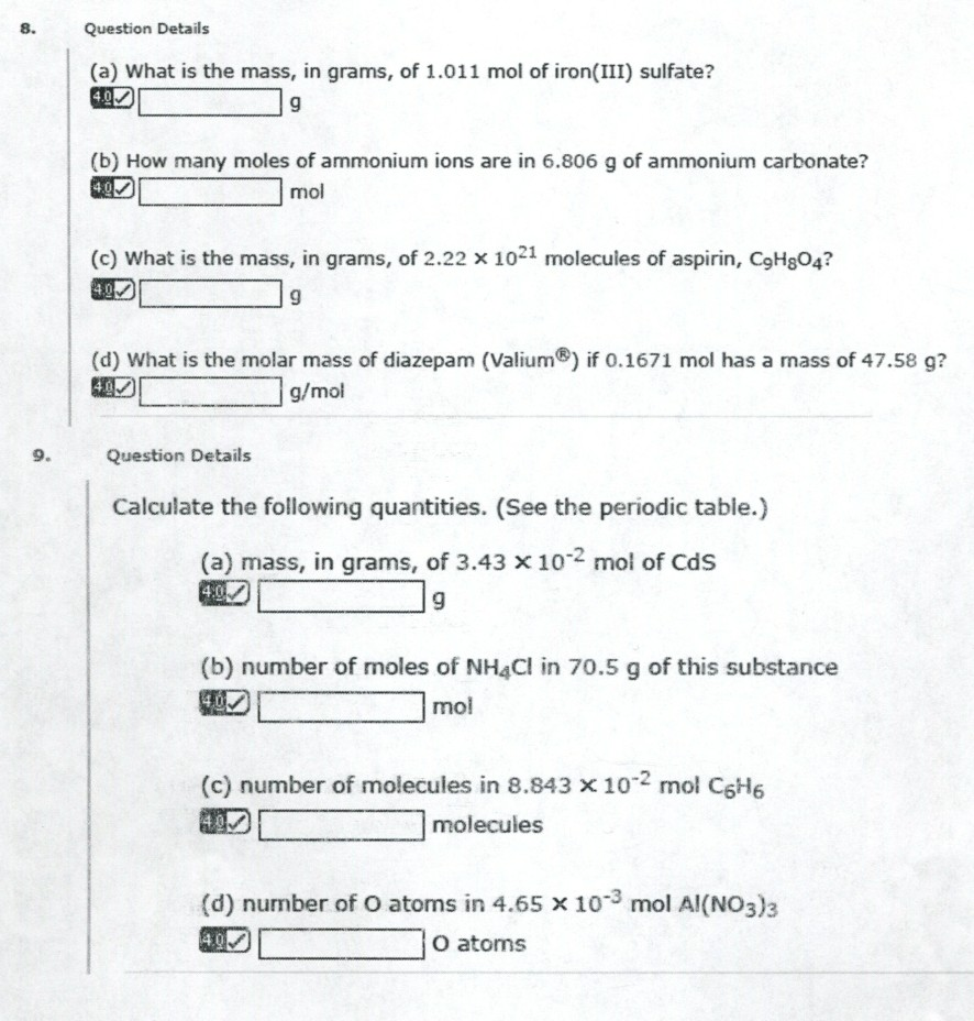8. Question Details (a) What is the mass, in grams, of