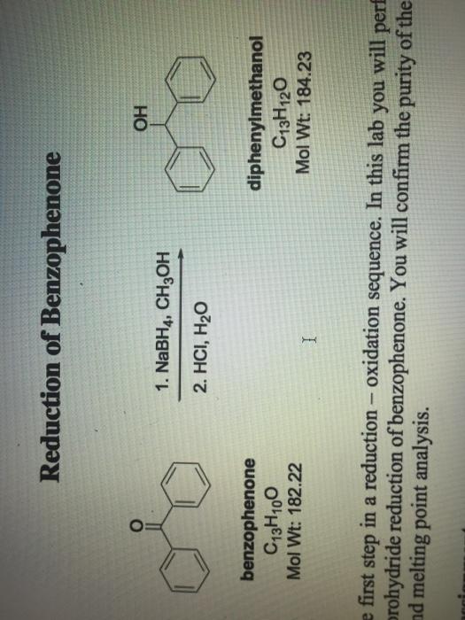 reduction of benzophenone using sodium borohydride