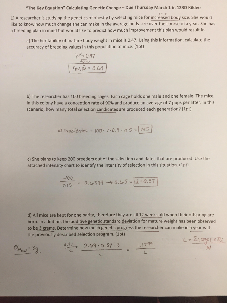 Solved: Need Help Determining L (Generation Interval), The