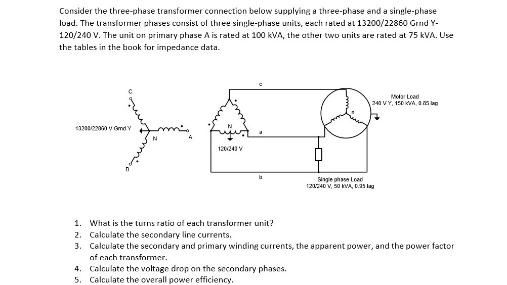 solved consider the three phase transformer connection be rh chegg com