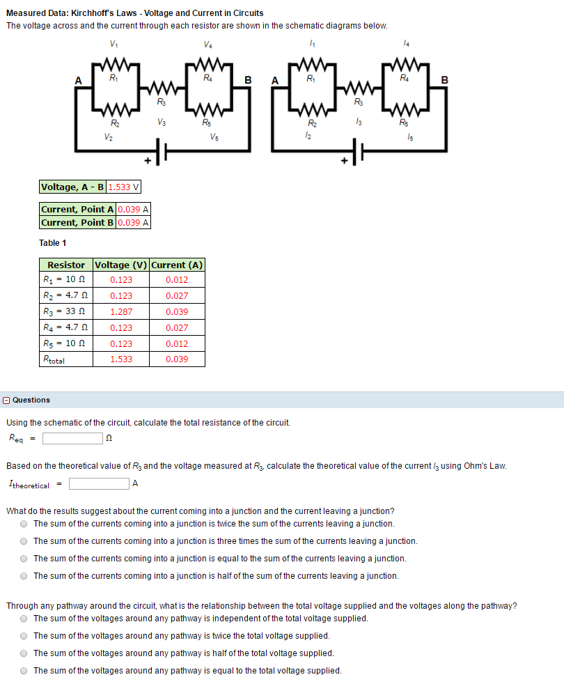 Solved: The Voltage Across And The Current Through Each Re ...