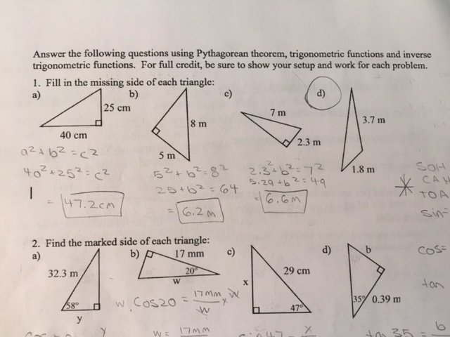 Solved: Fill In The Missing Side Of The Triangle: How Do Y