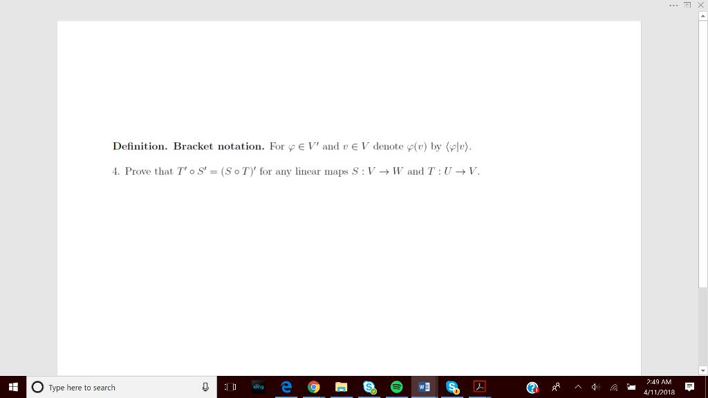 Definition. Bracket Notation. For Pe V And VE V Denote Pv) By (