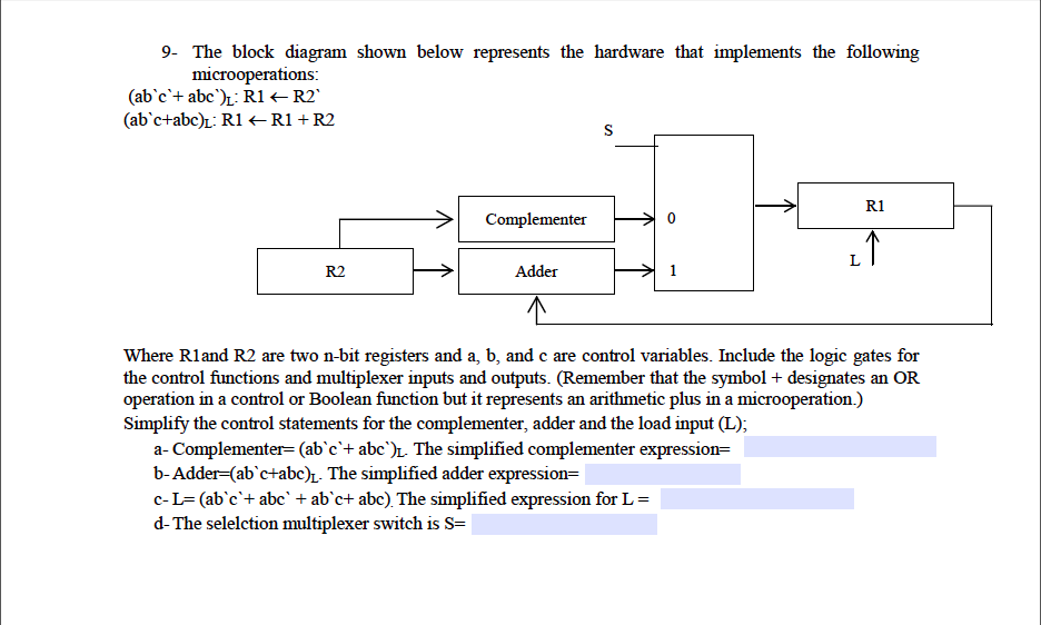 shown below represents the hardware that implements the following 9- the block  diagram microoperations: