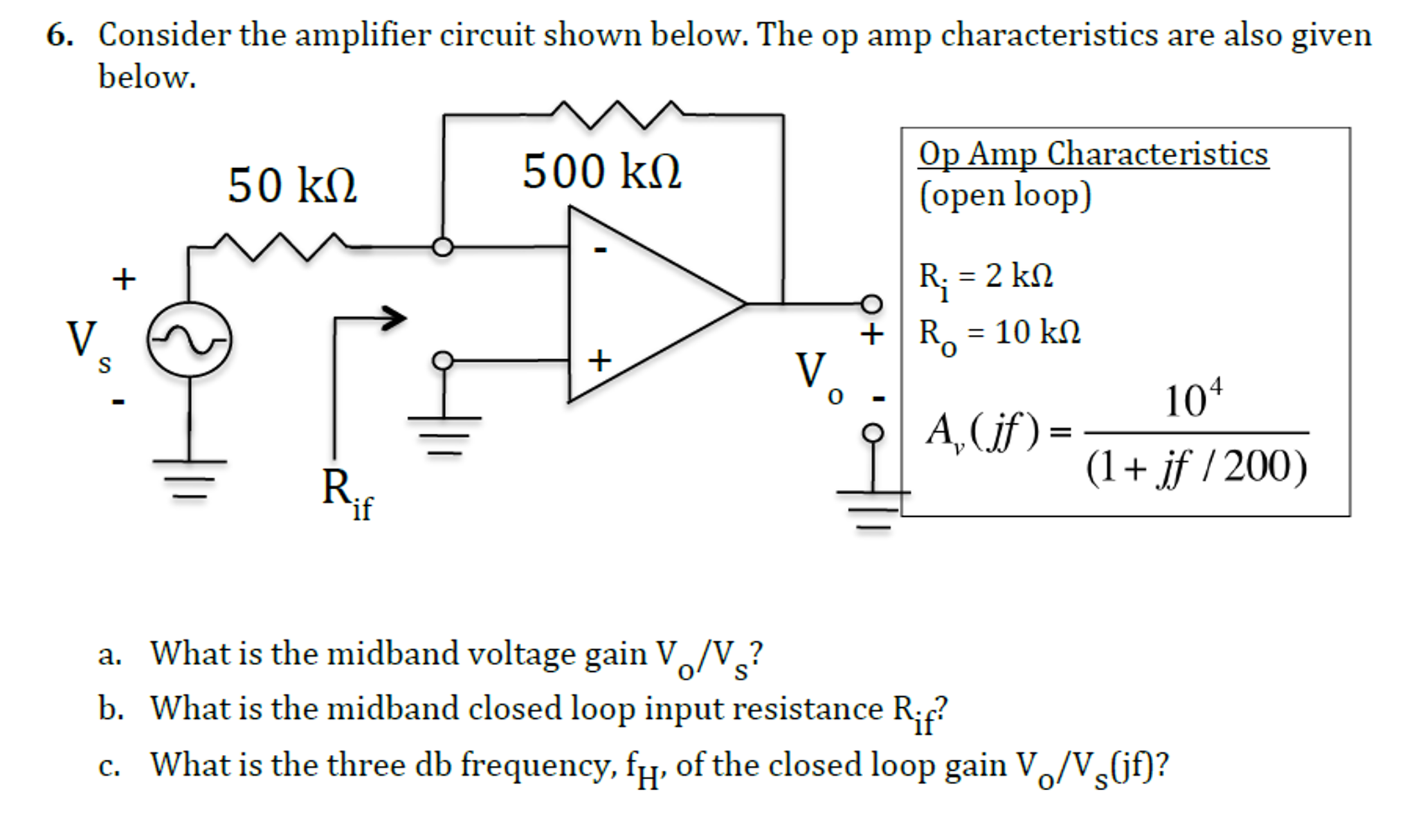 Solved Consider The Amplifier Circuit Shown Below Op Voltage Using Amp