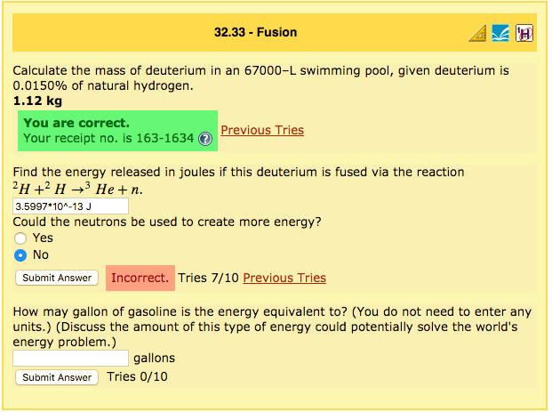 Solved: 32.33 -Fusion Calculate The Mass Of Deuterium In A ...