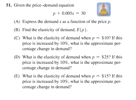 Solved Given The Price Demand Equation P 0 005x 30 Ex