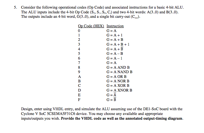 Solved Consider The Following Operational Codes Op Code