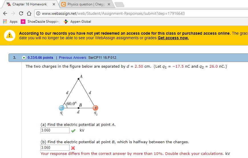 webassign physics answers