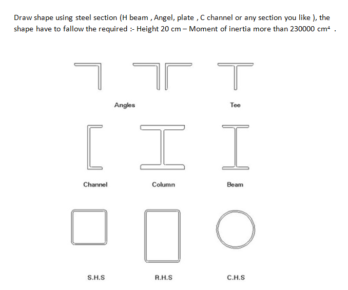 Draw Shape Using Steel Section (H Beam, Angel, Pla