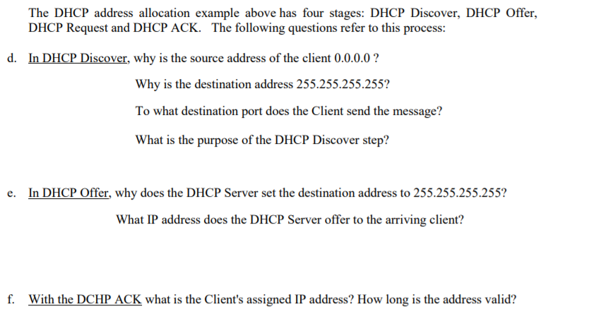 Solved The Dhcp Address Allocation Example Above Has Four Chegg Com