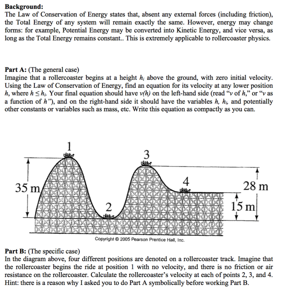 Solved Background The Law Of Conservation Of Energy Stat